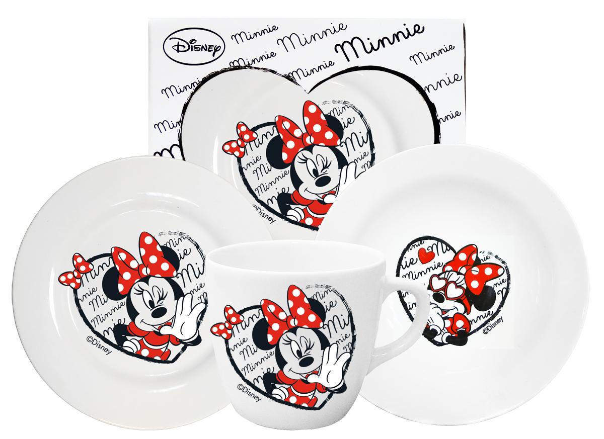 Набор детской посуды Минни 3 предметаMS3Набор фарфоровой посуды из 3-х предметов в подарочной коробке МИННИ: десертная тарелка + тарелка глубокая + кружка. Продукция безопасна для детского здоровья. Десертная тарелка х 1 шт.; тарелка глубокая 20 см х 1 шт.; кружка -1 шт.