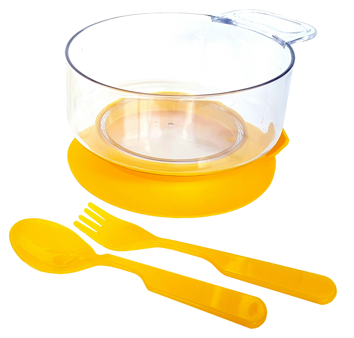 Набор детской посуды цвет желтый 3 предмета 121395452Набор посуды из 3-х предметов, идеальный для начала самостоятельного питания малыша. Произведено в России из безопасного пищевого пластика. Форма изготовлена по лучшим европейским технологиям. Эргономичные и безопасные ложка-вилка. Глубокая тарелка с ручкой на съемной присоске предотвращает скольжение по столу и переворачивание. Яркие цвета и удобная форма обеспечивают удовольствие от кормления. Можно мыть в посудомоечной машине и ставить в СВЧ (снять присоску с тарелки!).