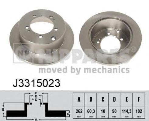 Диск тормозной задний Nipparts J3315023 комплект 2 штJ3315023