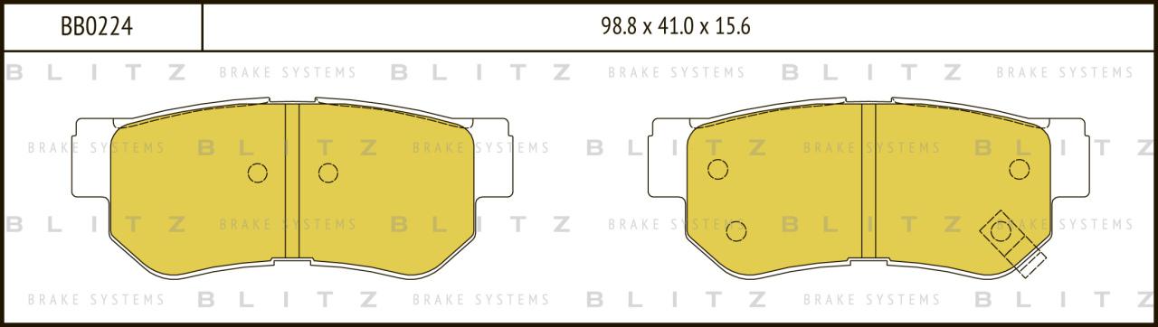 Колодки тормозные дисковые BLITZ автотовары BB0224BB0224