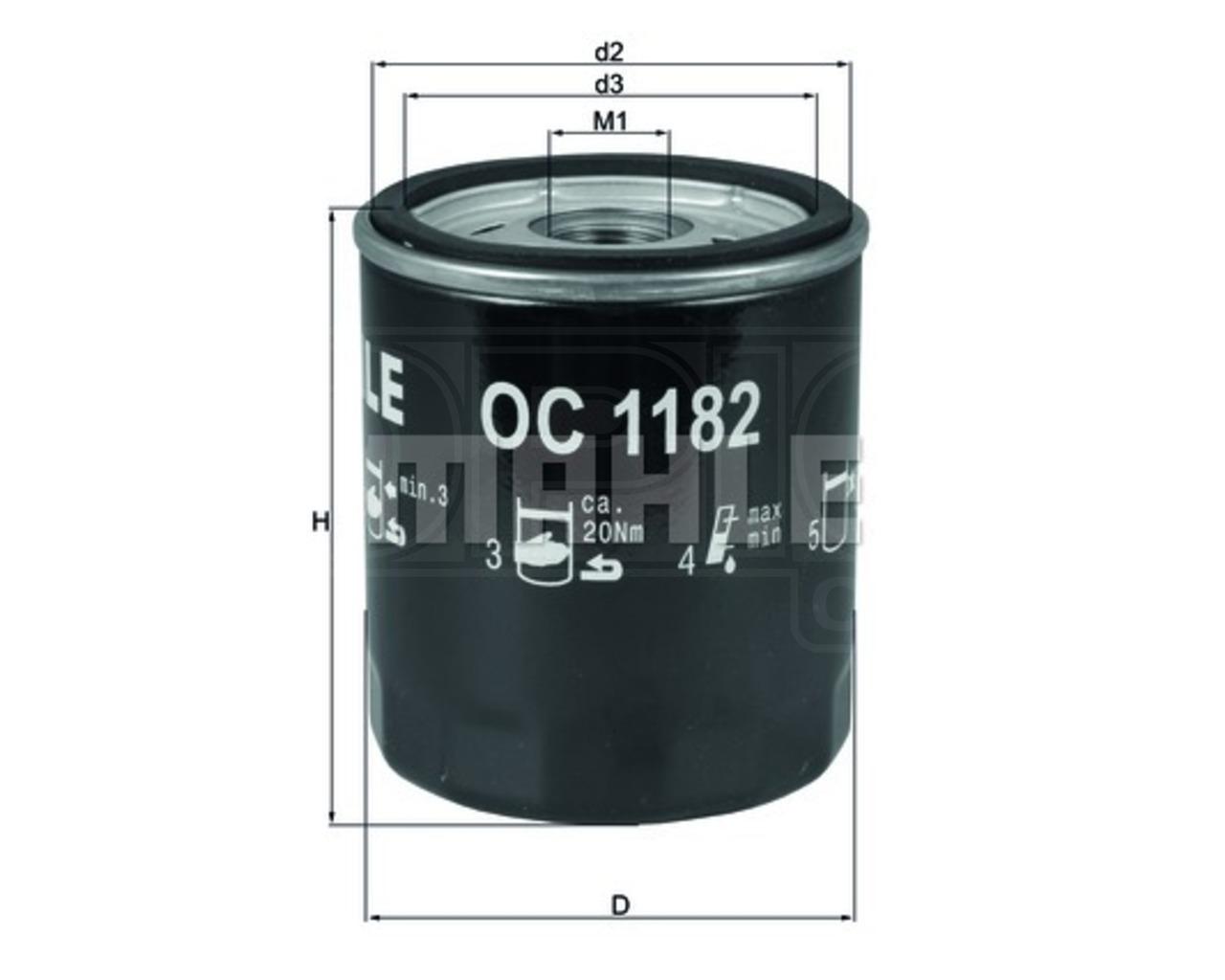 Фильтр масляный Mahle/Knecht OC1182OC1182