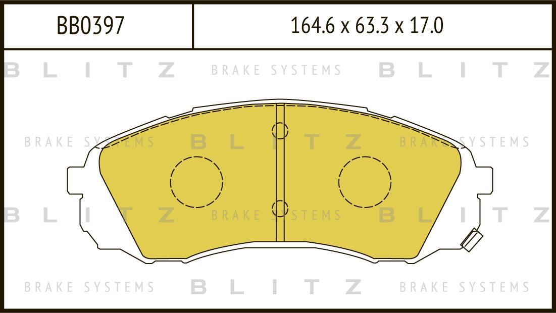 Колодки тормозные дисковые BLITZ автотовары BB0397BB0397