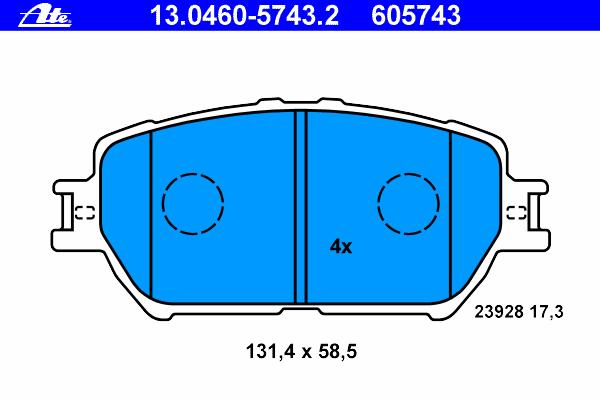 Колодки тормозные Ate 1304605743213046057432
