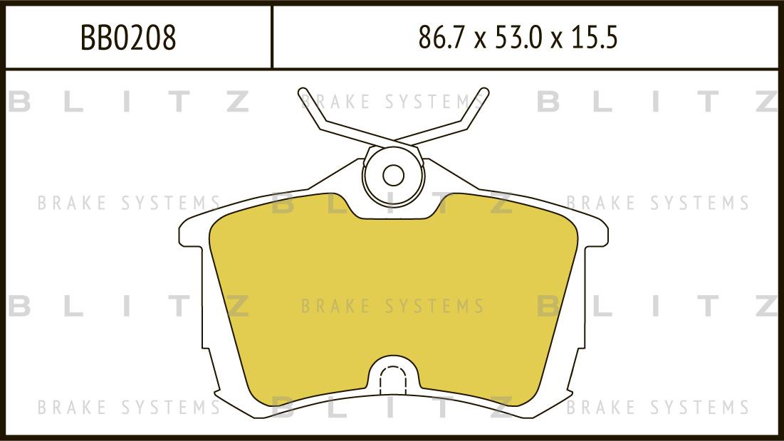 Колодки тормозные дисковые BLITZ автотовары BB0208BB0208