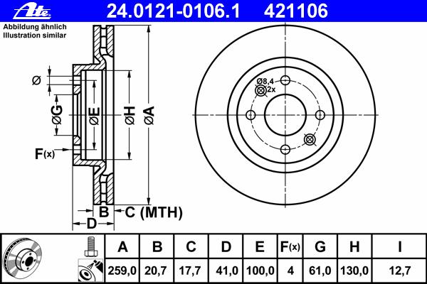 Диск тормозной Ate 24012101061 комплект 2 шт24012101061