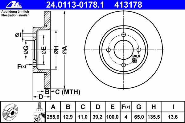 Диск тормозной Ate 24011301781 комплект 2 шт24011301781