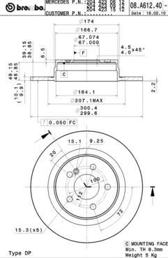 Диск тормозной задний Brembo 08A61241 комплект 2 шт08A61241