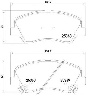 Колодки тормозные дисковые Brembo, передние. P18025P18025