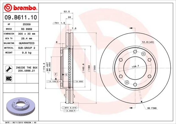 Диск тормозной Brembo 09B6111009B61110