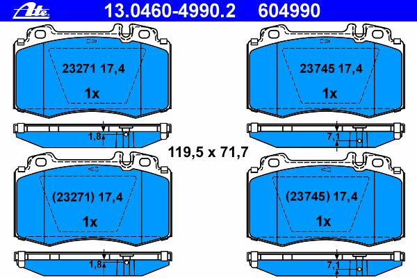 Колодки тормозные дисковые Ate 1304604990213046049902