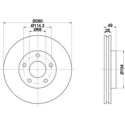 Диск тормозной Pro BEHR-HELLA 8DD355108011 комплект 2 шт8DD355108011