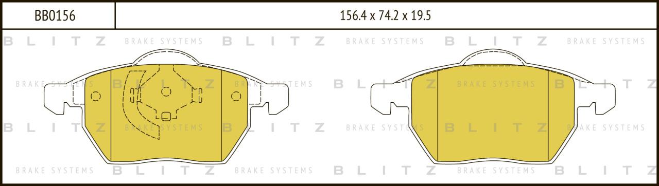 Колодки тормозные дисковые BLITZ автотовары BB0156BB0156