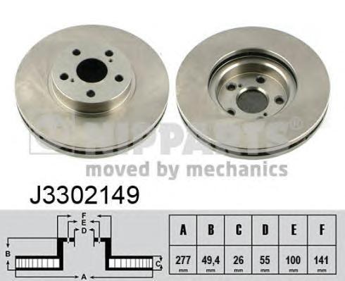 Диск тормозной передний вентилируемый Nipparts J3302149 комплект 2 штJ3302149