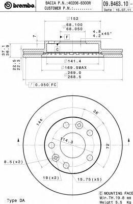 Диск тормозной Brembo 09B46310 комплект 2 шт09B46310