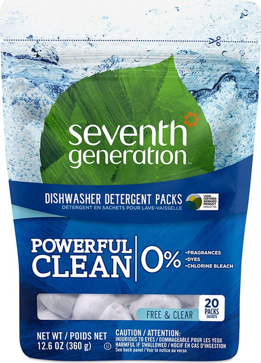 seventh star 100% Капсулы для посудомоечных машин Seventh Generation, без запаха, 20 шт