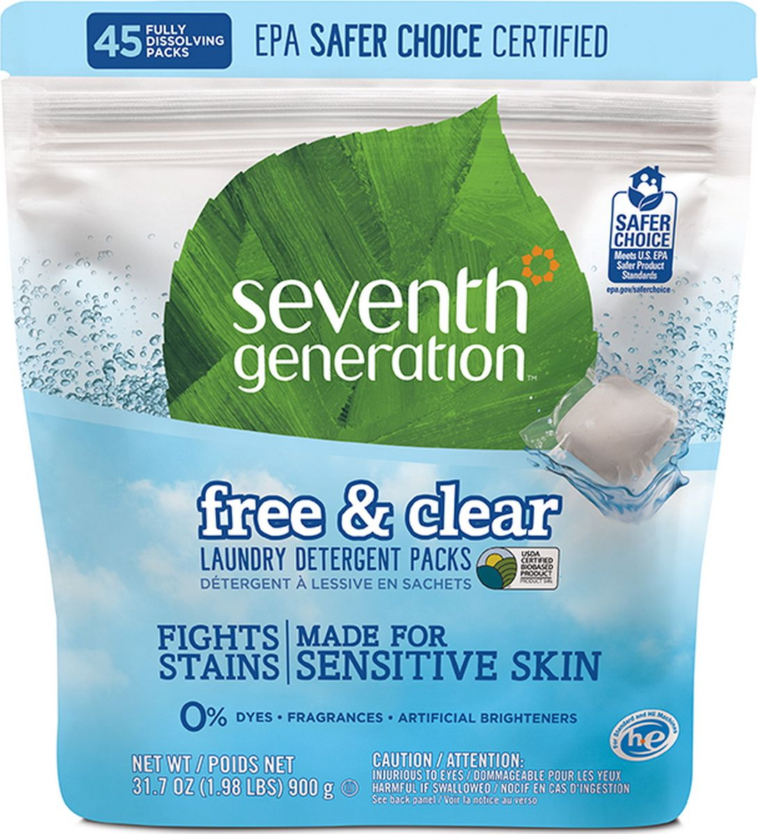 Капсулы для стирки Seventh Generation, без запаха, 45 шт22977Seventh Generation - натуральный стиральный порошок без запаха в капсулах. Обладает формулой с четырех кратными природными био-энзимами, которая борется с грязью и трудно-выводимыми пятнами. Водорастворимые таблетки-капсулы удобны, безопасны и просты в использовании. Нет необходимости измерять количество средства. Просто поместите в машину один пакет-капсулу для одной обычной загрузки или два для сильно загрязненных вещей или большой загрузки. Средство быстро растворяется в холодной и горячей воде. Подходит для деликатных тканей.Особенности:- Гипоаллергенный, подходит для чувствительной кожи,- Не раздражает кожу, нейтральный Ph,- Натуральные био-энзимы удаляют трудновыводимые и повседневные пятна,- Не содержит хлора, абразивов, фосфатов, фталатов, сульфатов, А-ПАВ,- Без оптических, искусственных отбеливателей, растворителей и парабенов,- Без синтетических отдушек и красителей,- Нетоксичная биоразлагаемая формула с ферментами на растительной основе,- Для стандартных и высокоэффективных стиральных машин,- Отлично работает во всех температурных режимах,- На 94% сделан из сертифицированных USDA биоматериалов (материалов растительного происхождения, сертифицированных Министерством сельского хозяйства США),- Рекомендуется для людей склонных к аллергическим реакциям и страдающих астмой.Состав: цитрат натрия (средство растительного происхождения для умягчения воды), карбонат натрия (моющее средство на минеральной основе), лаурет-6 (чистящее средство растительного происхождения), гидратированный диоксид кремния (средство помощи потока на минеральной основе), Cocos nucifera (кокос) масло (пеногаситель растительного происхождения), протеазы (ферменты (энзимы) растительного происхождения для удаления пятен), амилазы (ферменты (энзимы) растительного происхождения для удаления пятен), маннаназы (ферменты (энзимы) растительного происхождения), целлюлазы (ферменты (энзимы) растительного происхождения для удаления смеси по