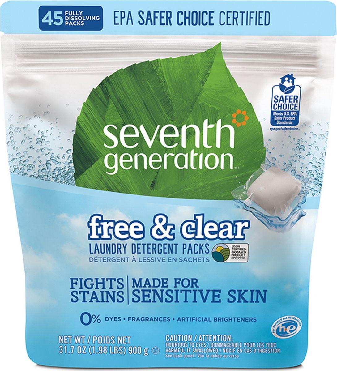 Капсулы для стирки Seventh Generation, без запаха, 45 шт кондиционер для белья seventh generation без запаха 946 мл