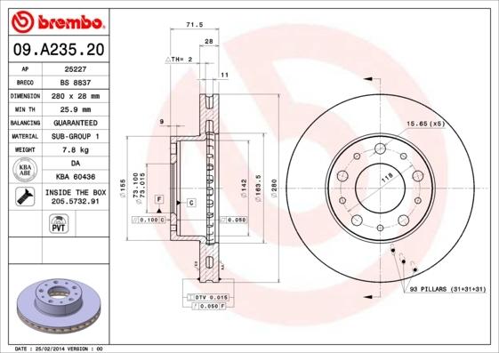 Диск тормозной передний вентилируемый Brembo 09A23520 комплект 2 шт09A23520