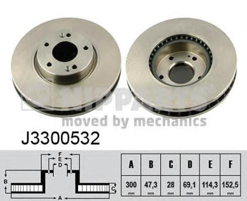 Диск тормозной передний вентилируемый Nipparts J3300532 комплект 2 штJ3300532