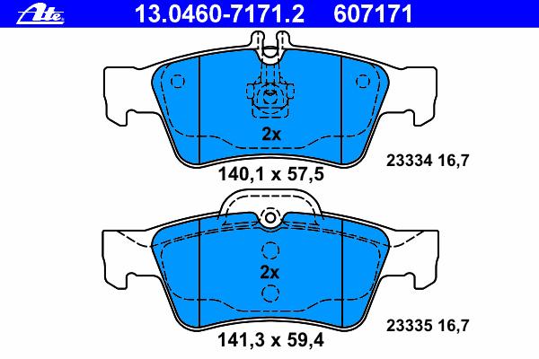Колодки тормозные дисковые Ate 1304607171213046071712