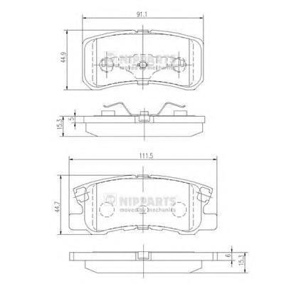 Колодки тормозные задние Nipparts J3615010J3615010