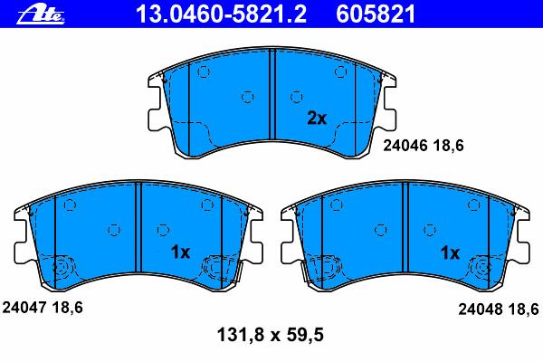 Колодки тормозные Ate 1304605821213046058212
