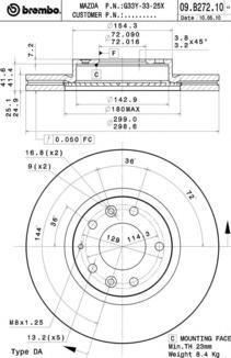 Диск тормозной передний Brembo 09B27210 комплект 2 шт09B27210