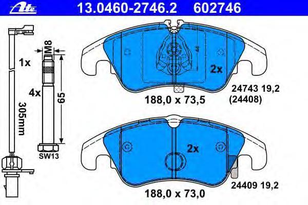 Колодки тормозные дисковые Ate 1304602746213046027462