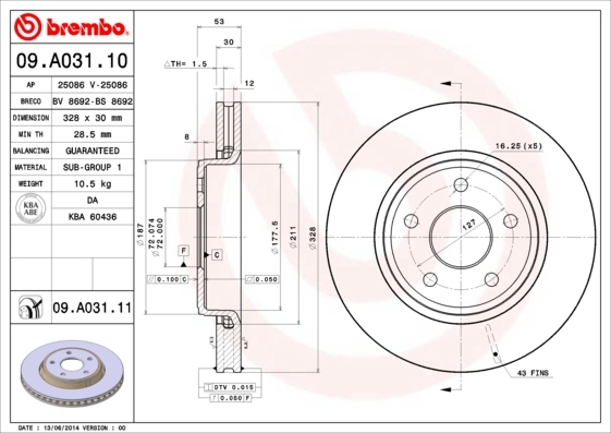 Диск тормозной Brembo 09A0311009A03110