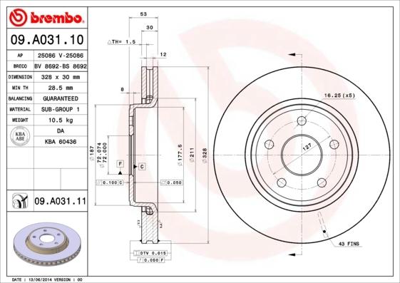 Диск тормозной Brembo 09A0311009A03110