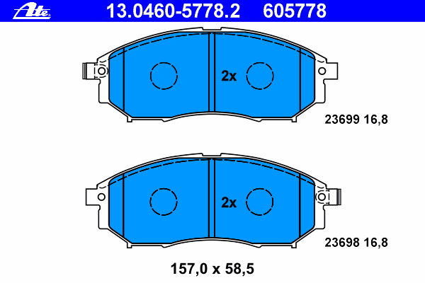 Колодки тормозные дисковые Ate 1304605778213046057782