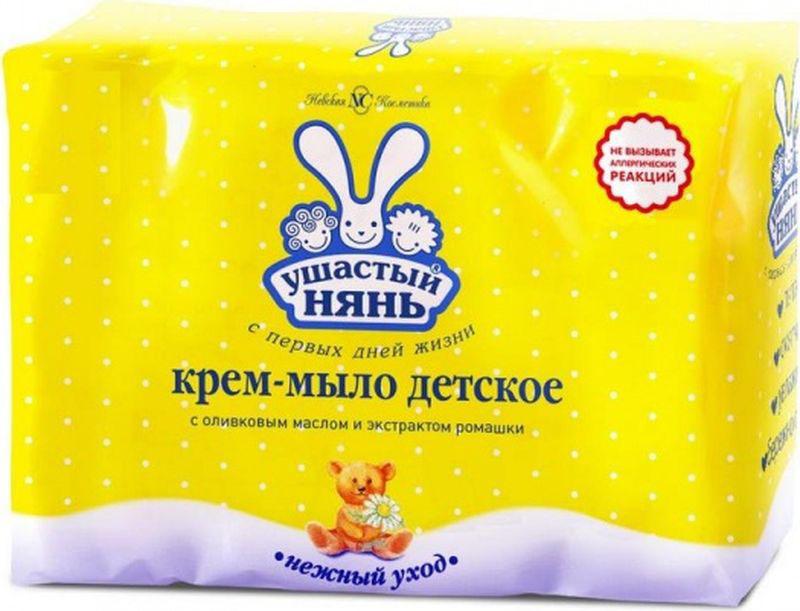 Ушастый нянь Крем-мыло детское с оливковым маслом и ромашкой 100 г, 4 шт5054Крем-мыло Ушастый нянь с оливковым маслом и экстрактом ромашки, 4шт по 100гГипоаллергенноНежный уход с первых дней жизниНа 1/4 состоит из увлажняющего крема, нежно очищает, увлажняет и смягчает кожу, оливковое масло и экстракт ромашки способствует питанию кожи и снижает вероятность появления аллергических реакций