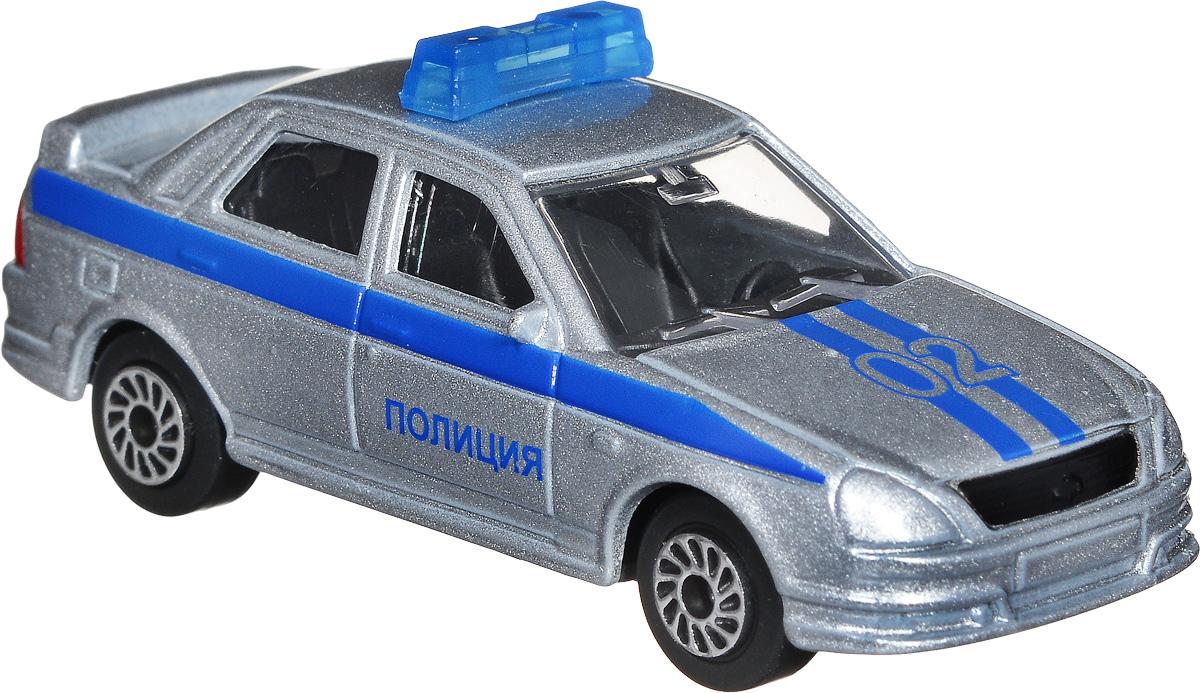 ТехноПарк Автомобиль Lada Priora Полиция цвет серебристый машины wader автомобиль констрак полиция