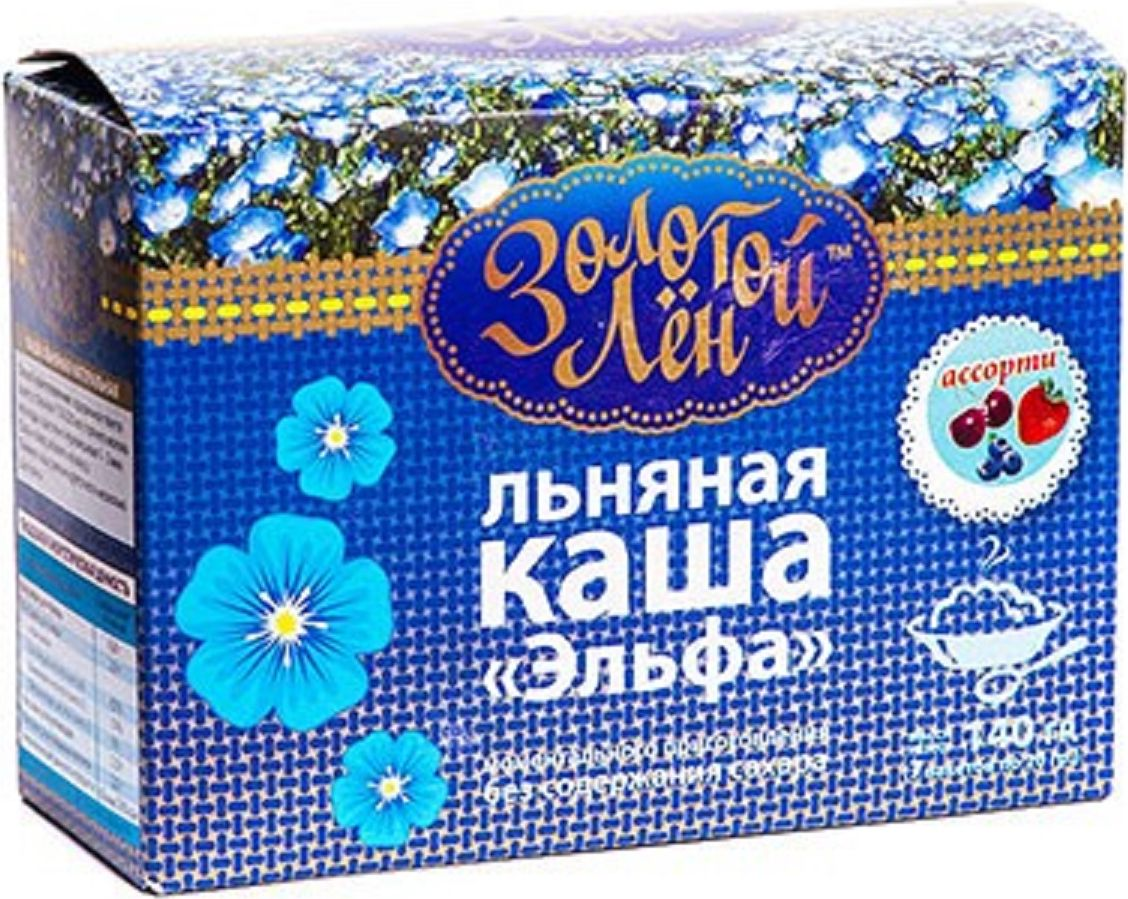 Эльфа Золотой лен каша льнаная натуральная, 7 пакетов по 20 г