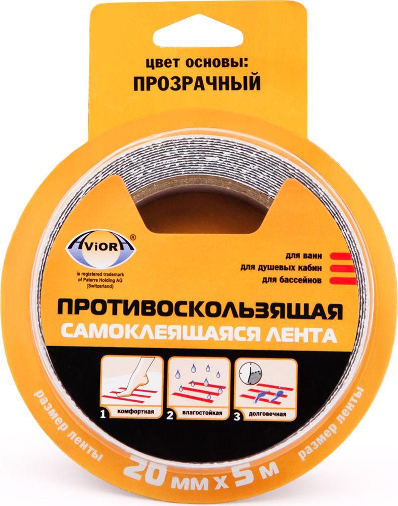 Лента клейкая Aviora, противоскользящая, цвет: прозрачный, 20 мм х 5 м лента stayer profi клейкая противоскользящая 50мм х 5м 12270 50 05