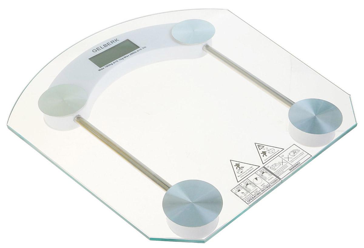 Gelberk GL-201 напольные весыGL-201Напольные весы Gelberk GL-201 оснащены платформой из закаленного стекла. Весы - это простой и удобный способ контролировать свой вес. Максимальная нагрузка на данную модель может составлять 180 кг.Весы имеют индикаторы перегрузки и низкого заряда батареи. Чтобы весы начали работать, достаточно просто встать на них. После взвешивания прибор отключится самостоятельно через 10 секунд.Питание: одна батарейка типа CR2032 (включена в комплект).