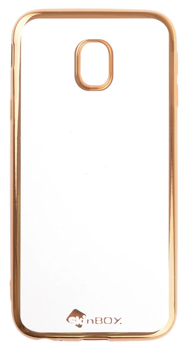 Skinbox Silicone chrome border 4People чехол-накладка для Samsung Galaxy J3 (2017), Gold2000000147543Чехол-накладка Skinbox Silicone Chrome Border 4People для Samsung Galaxy J3 (2017) бережно и надежно защитит ваш смартфон от пыли, грязи, царапин и других повреждений. Выполнен из высококачественного поликарбоната, плотно прилегает и не скользит в руках. Чехол-накладка оставляет свободным доступ ко всем разъемам и кнопкам устройства.