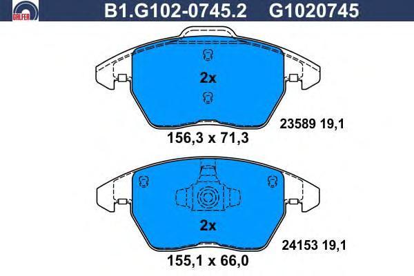 Колодки тормозные Galfer B1G10207452B1G10207452