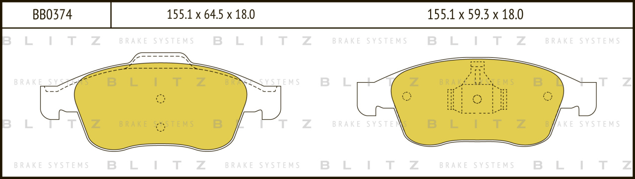 Колодки тормозные дисковые BLITZ автотовары BB0374BB0374