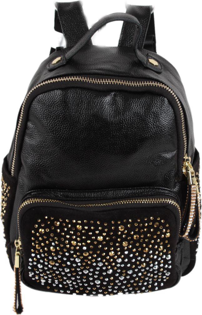Рюкзак женский Flioraj, цвет: черный. 18051805 blackСтильный и практичный женский рюкзак Flioraj отлично подходит для прогулок, путешествий и учебы. Рюкзак удобен и функционален, сшит из прочной высококачественной натуральной кожи и оформлен декоративными металлическими элементами. В нем есть все, что нужно: одно отделение, закрывающееся на молнию, и три внутренних кармана: два открытых и карман на молнии. Снаружи рюкзак дополнен двумя открытыми карманами и двумя карманами на молнии.Рюкзак имеет прочные лямки регулируемой длины и ручку для переноски в руке. Такой рюкзак - модная и удобная вещь на каждый день.