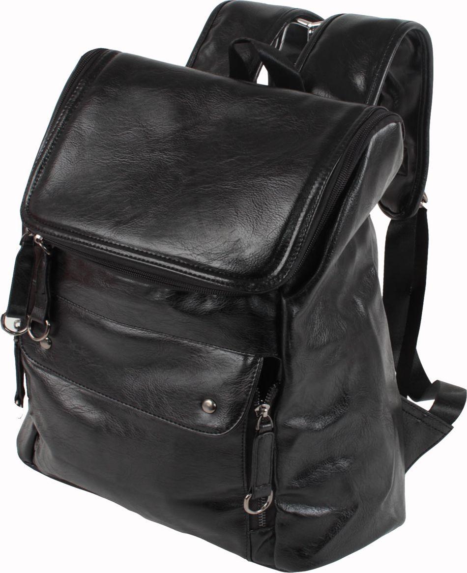 Рюкзак Flioraj, цвет: черный. 09470947 чернСтильный и практичный рюкзак Flioraj отлично подходит для прогулок, путешествий и учебы. Рюкзак удобен и функционален, сшит из прочной высококачественной экокожи. В нем есть все, что нужно: одно отделение, закрывающееся на молнию, и три внутренних кармана: открытый карман и два кармана для мобильного телефона. Снаружи рюкзак дополнен карманом на молнии.Рюкзак имеет широкие лямки регулируемой длины и ручку для переноски в руке. Такой рюкзак - простая и удобная вещь на каждый день.