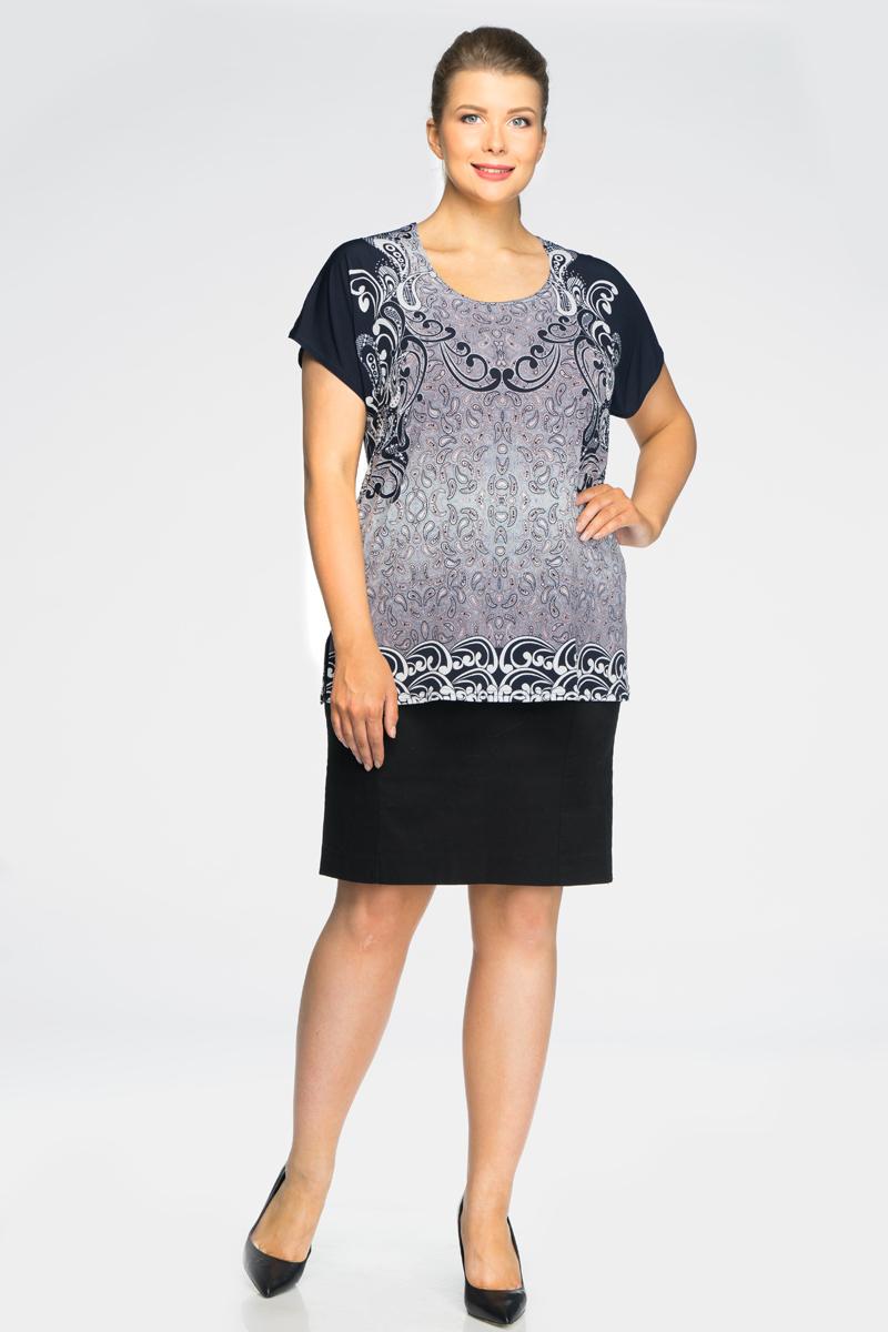 Блузка женская Pretty Women Силуэт, цвет: сиреневый. Размер 64СилуэтСтильная женская блузка, выполненная из комбинированного материала, идеально сочетает в себе стиль и комфорт. Модель свободного покроя с короткими рукавами и круглым вырезом горловины.