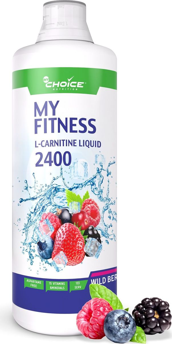 Жиросжигатель MyChoice Nutrition My Fitness L-Carnitine Liquid 2400, лесные ягоды, 1 л напиток mychoice nutrition my fitness l carnitine 2700 shot мохито 9 x 60 мл