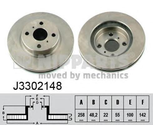 Диск тормозной передний вентилируемый Nipparts J3302148 комплект 2 штJ3302148