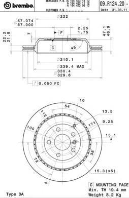 Диск тормозной задний вентилируемый Brembo 09R12421 комплект 2 шт