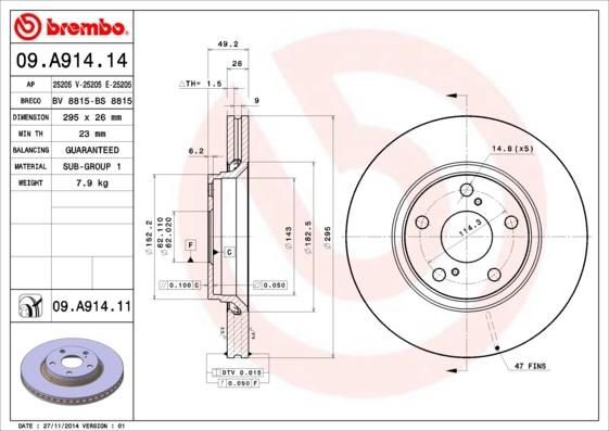 Диск тормозной передний Brembo 09A9141409A91414