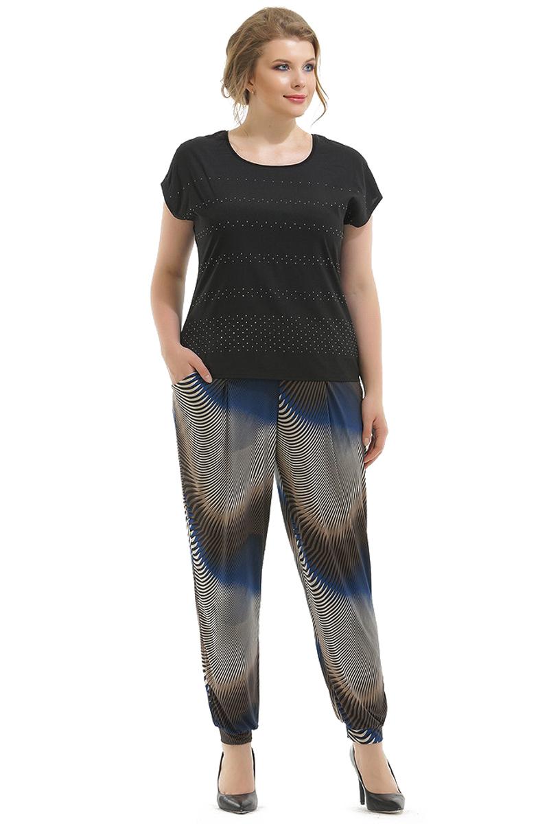 Брюки женские Pretty Women Зиг Заг, цвет: синий. Размер 56Зиг ЗагБрюки в стиле бананы пояс на резинке, имеются карманы. Эту модель можно рассматривать как в спортивном, так и в классическом стиле.