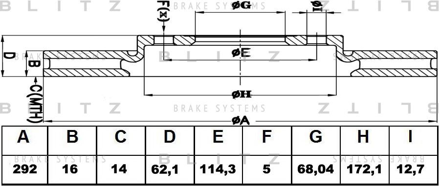 Диск тормозной BLITZ автотовары BS0278 комплект 2 штBS0278