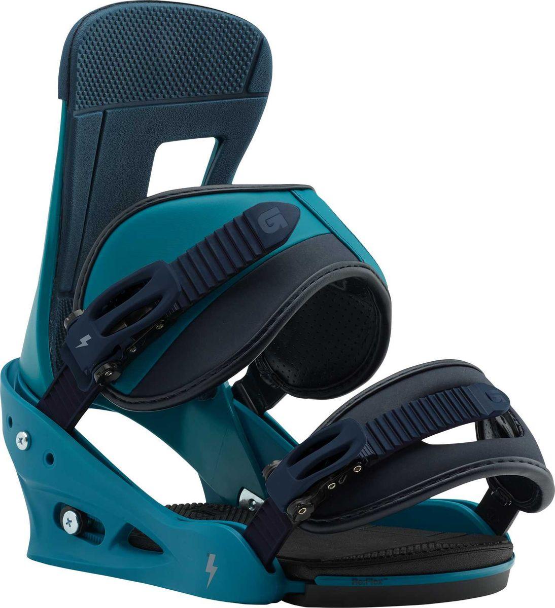 Крепление для сноуборда Burton Freestyle Mariner Green, цвет: черный, бирюзовый. Размер L10544104310Несмотря на то, что крепления Burton Freestyle располагаются в начале линейки Burton, они обладают всеми основными технологиями, присущими более верхним креплениям. Система крепления Re:Flex позволяет лучше чувствовать и контролировать доску и плавно вести дугу. Амортизационная система FullBED Cushioning System обеспечит комфортную посадку ботинка, мягкие удобные стрепы, надежно фиксируют ботинок, бакли имеют плавный ход, технология Flex Slider позволяет легко встегиваться в крепления, так как верхний стреп полностью откидывается. Всё это делает крепления Burton Freestyle востребованными не только для начинающих сноубордистов, но и для совершенствующих свое катание райдеров. Не удивительно, что крепления являются бестселлером Burton на протяжении уже 20 лет.Детали:- Однокомпонентная база из поликарбоната.- Технология креплений Re:Flex: крепления передают более естественные ощущения доски. Универсальны для всех существующих систем крепежа, включая 4x4, 3D и The Channel.- Технология Flex Slider позволяет легко встегиваться и выстегиваться из креплений.- Однокомпонентный хайбэк: залог хорошей отзывчивости.- Новый верхний стреп Reactstraps: плотно и равномерно фиксирует ботинок.- Нижний стреп Convertible Capstrap плотно прилегает к носку ботинка.- Технология Fullbed: амортизирующая стелька из вспененного материала EVA, обеспечивает комфортную посадку ботинка в креплении, не затрудняет доступ к крепежной системе.- Бакли Smooth Glide: легкие металлические клипсы с мягким ходом при расстегивании и надежным сцеплением при катании.