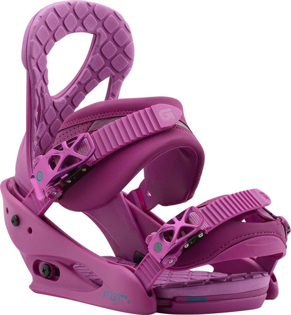 Крепление для сноуборда Burton Stiletto Hot Purple, цвет: фиолетовый. Размер M10548104502Мягкие, гладкие и невероятно надежные крепления Burton Stiletto, выполненные по технологии Re:Flex, которая обеспечивает естественный прогиб доски без сильного влияния на него собственной жесткости креплений. Формованные стрэпы с наполнителем из вспененного материала EVA обеспечивают равномерное давление и четкую посадку поверх ботинка, а амортизирующая подушка FullBED, повторяющая контур подошвы, добавляет амортизации, уберегая ваши стопы от жестких приземлений и усталости. Крепления Stiletto - надежное связующее звено между вашими ногами и доской, которое готово привнести естественности и отзывчивости в процесс катания.Параметры:- Легкая база из поликарбоната Bomb-proof.- Технология креплений RE:FLEX: уменьшенный вес и высокий уровень отзывчивости доски, так как жесткость креплений теперь не влияет на способность доски прогибаться.- Однокомпонентная конструкция хайбэка для лучшей отзывчивости.- Хайбэк Canted повторяет анатомические особенности правой и левой ног.- Регулировка наклона хайбэка MicroFLAD.- Конструкция True Fit создана специально для женщин с учетом особенностей катания и строения ног.- Формованные стрепы LUSHSTRAP с наполнителем из вспененного материала EVA.- Конструкция стрепов Flex Slider для удобства встегивания в крепления и застегивания налету.- Носочный стреп Gettagrip Capstrap формованный и цепкий.- Легкие металлические бакли со вставками из поликарбоната Smooth Glide разработаны компанией Burton и готовы работать мягко и надежно не один сезон.- Амортизирующая вставка FullBED из вспененного материала EVA повторяет форму подошвы ботинка, обеспечивая высокий уровень амортизации; легко снимается без дополнительных инструментов.Как выбрать сноуборд. Статья OZON Гид